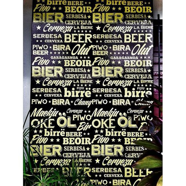 Just learning some words hahaha Bier Serbesa Birre Beoir Birre Bere Piwo Garagarnoa Pijiu Labierre OKE Cerveza Olut Cerveja Beer Cerveza Painting Restaurant Mural Beerporn Drinkabeerforme