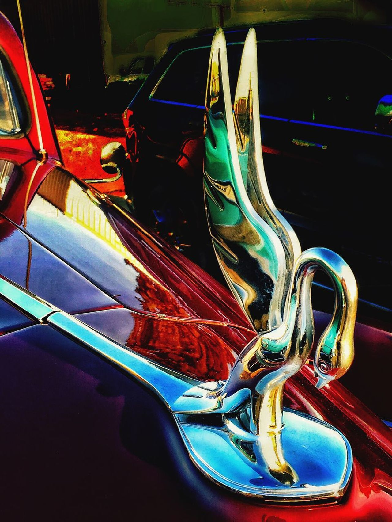 Car Hood Ornament Swan Hot Rod Car Collection No People Transportation Land Vehicle Mode Of Transport Multi Colored Outdoors Day Close-up