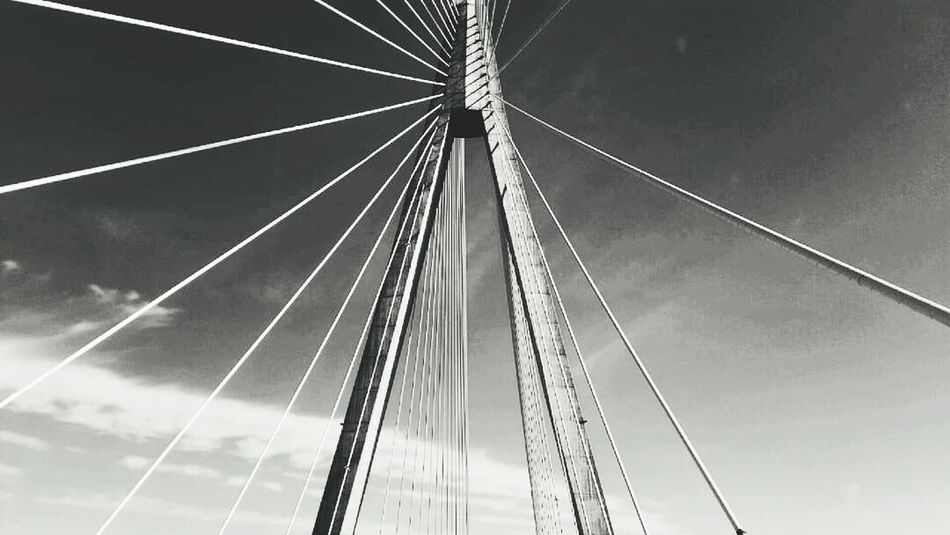 Connection Cable Bridge - Man Made Structure No People Low Angle View Suspension Bridge Outdoors Sky Nature Day Close-up Architecture Minimalism Road Sweden Scandinavia Ontheroad Streets Vapor Trail