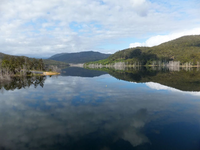 The upper intake of the Hinze dam on the Gold Coast Australia. Beauty In Nature Clam Cloud - Sky Day Horizontal Lake Landscape Mountain Nature No People Outdoors Refection Reflection Reflection Lake Scenics Sky Tranquility Tree Water