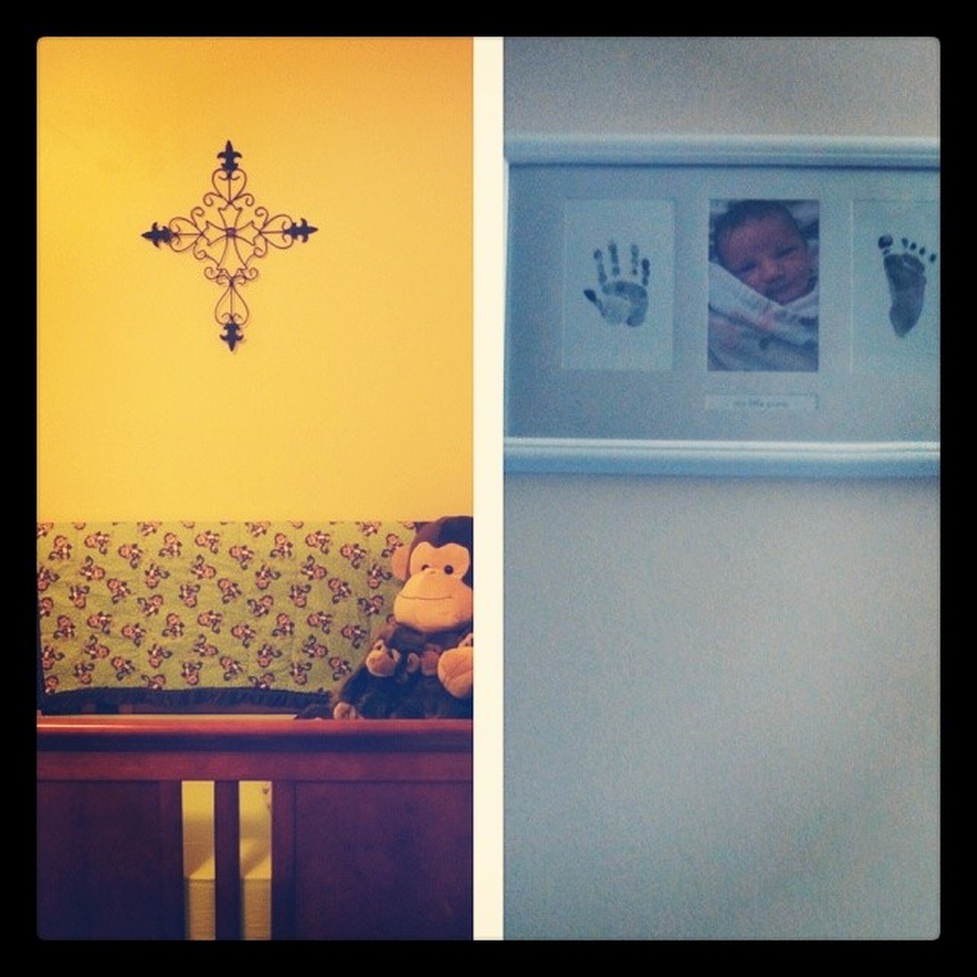 we got colton's pictures hung up in his room. :) Cross Footandhandprints