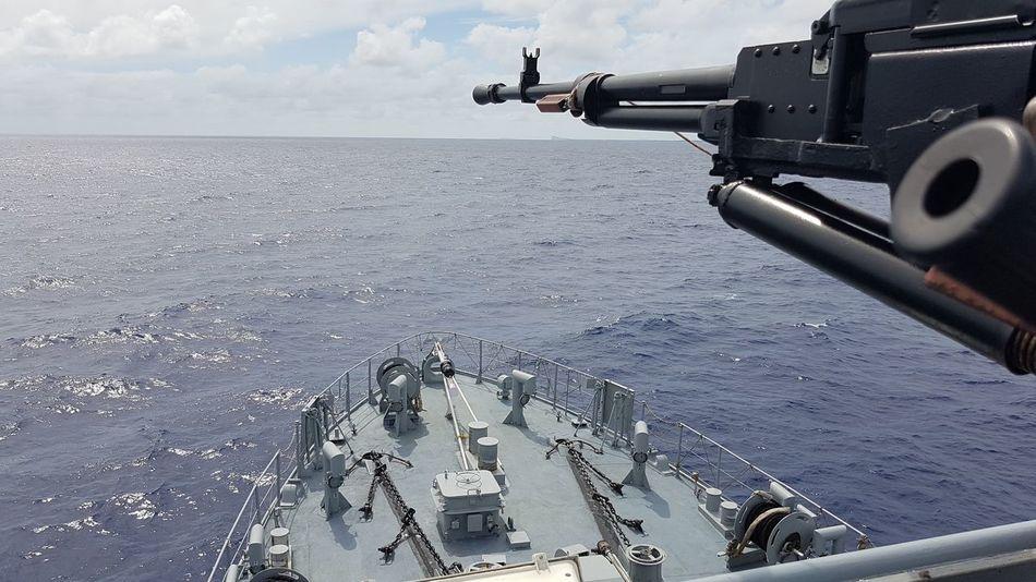 Military Sea Aerial View Weapon Horizon Coastline Rifle Gun Army