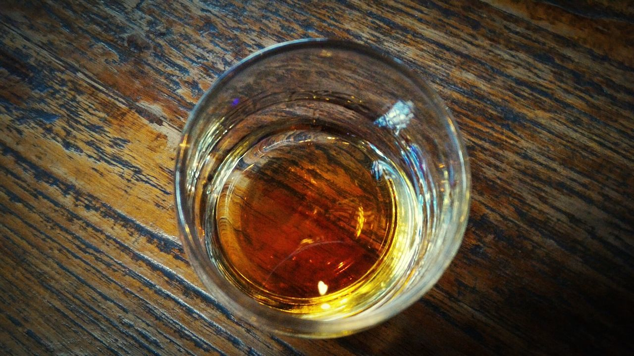 drink, drinking glass, wood - material, food and drink, refreshment, table, no people, indoors, close-up, alcohol, whiskey, shot glass, freshness, day