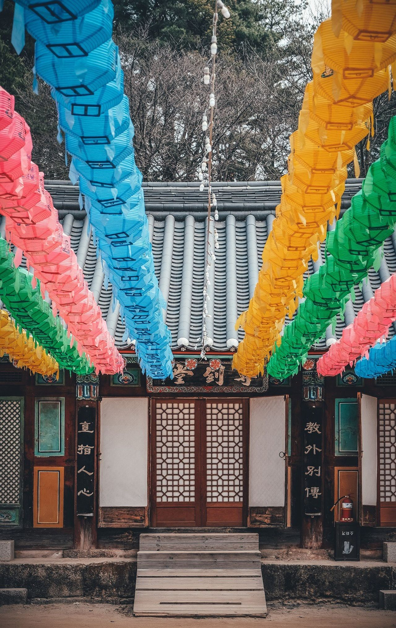 Sinreuksa, South Korea Temple Architecture Korean Traditional Architecture Korean Temple Buddhism Lights Built Structure Multi Colored Hanging Outdoors No People
