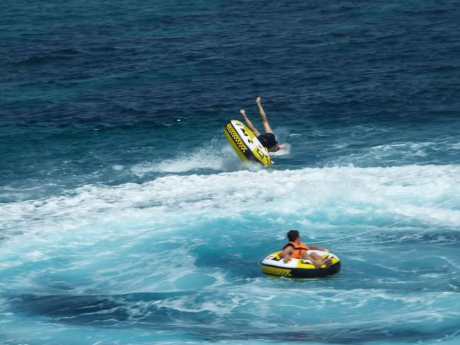 Falling Off Rubber Rings Watersports Water Sports Water Splash Waves On The Way Tourists Tourism Tourist Attraction  Travel Photography Travel Destinations Water Spray People Blue Water Sea Mediterranean Sea Blue Wave