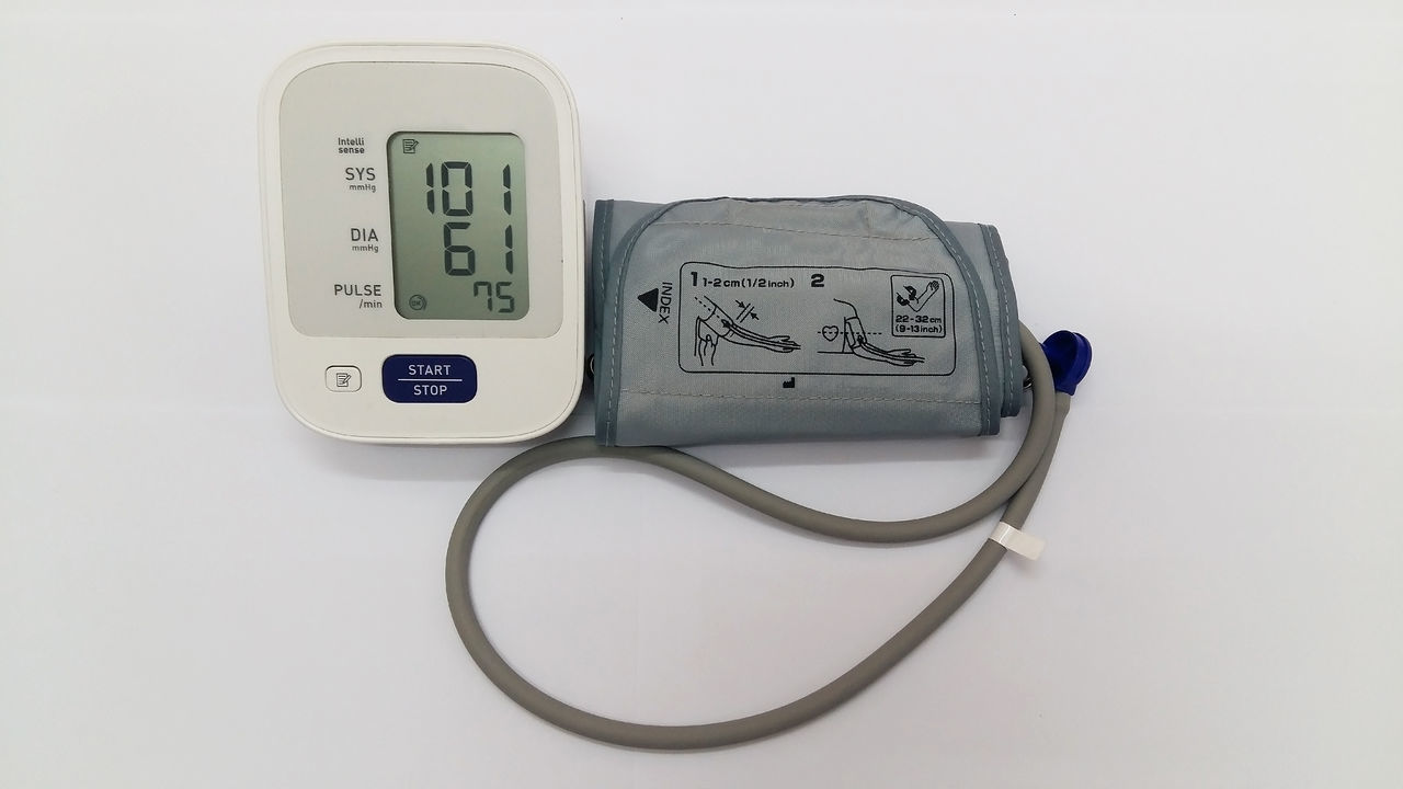 Blood pressure monitor Alarm Clock Blood Pressure Check Blood Pressure Gauge Clock Digital Display No People Technology Thermometer Time White Background