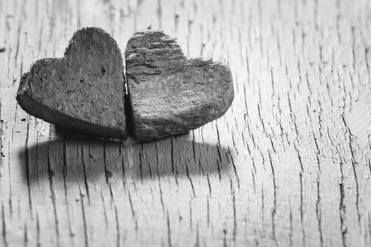 Wooden Hearts On Plank