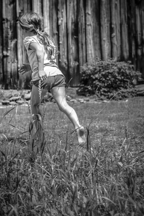 Black And White Blackandwhite Day Nature One Person Only Women Outdoors People Running Tree Young Girl