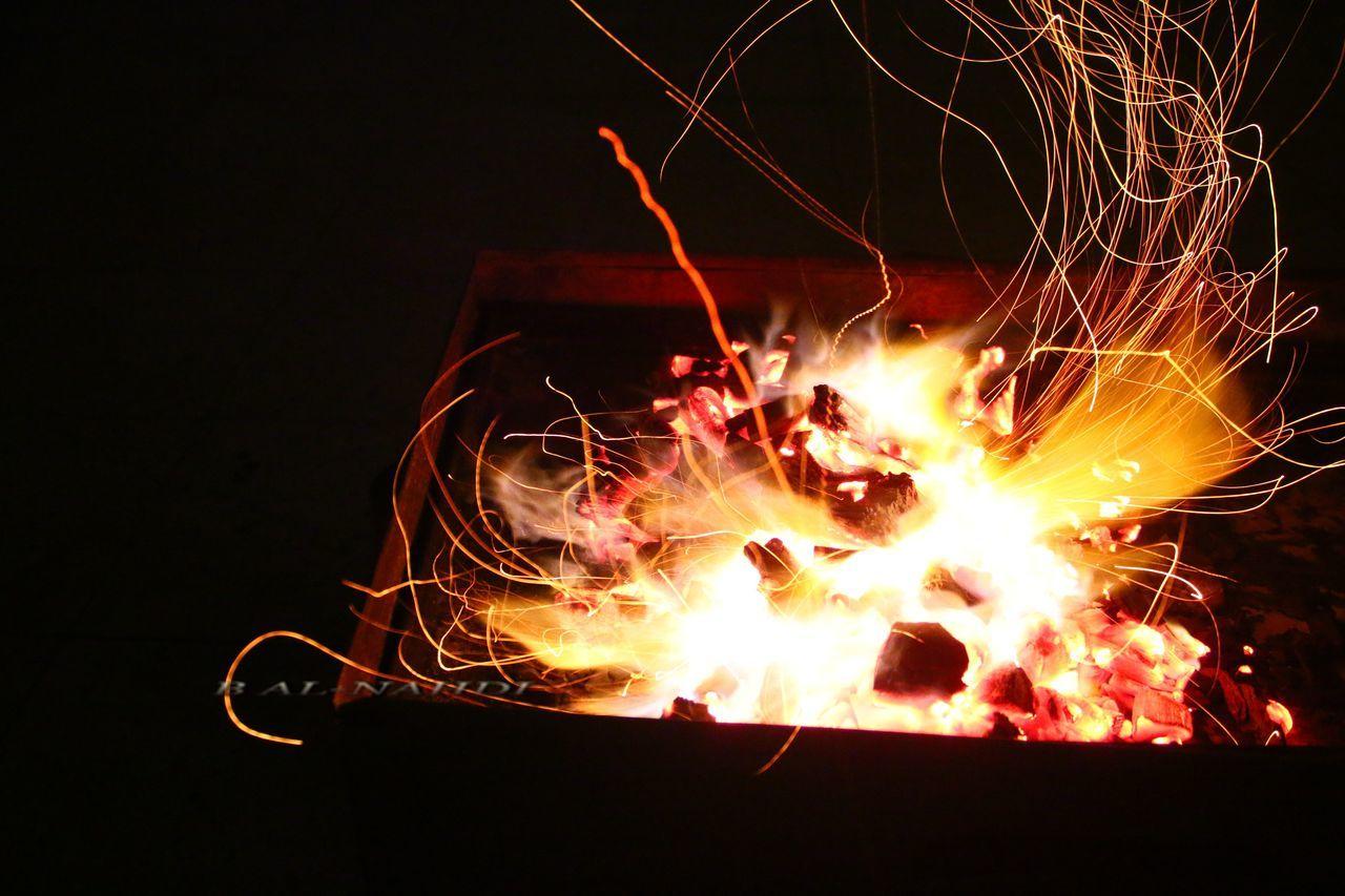 glowing, night, burning, flame, heat - temperature, no people, long exposure, illuminated, close-up, bonfire, motion, outdoors