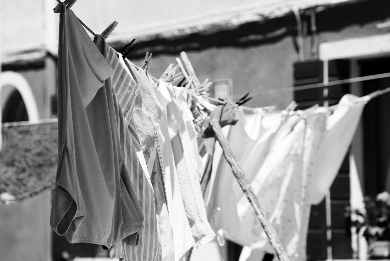 Hanging Clothesline Clothespin Laundry Drying Clothing No People Outdoors Day Close-up Coathanger Cloth