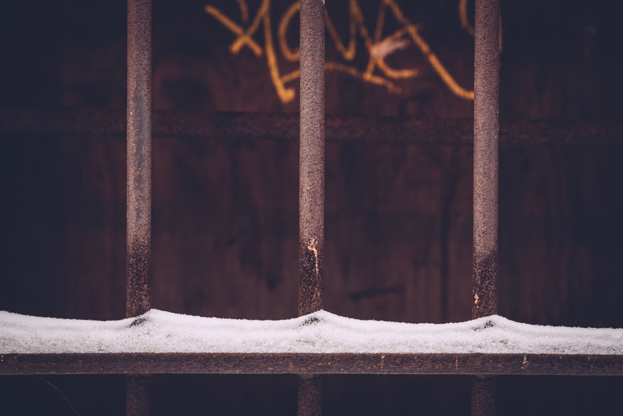 Backgrounds Cage Close-up Day Full Frame Grafitti Grafitti Wall Metal Grate No People Outdoors Rusty Bars Security Bar Snow Winter Days
