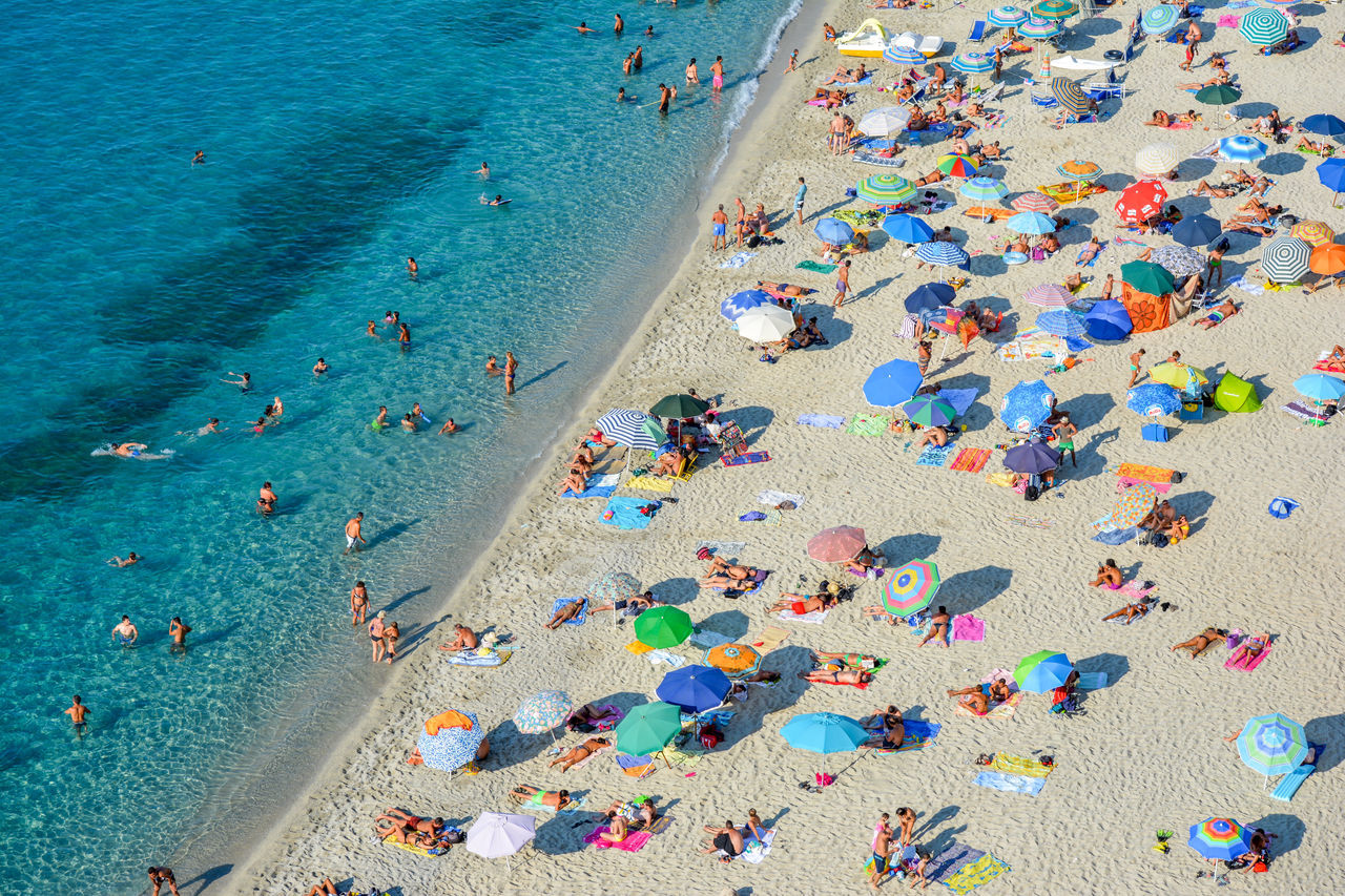 Beach Beach Day Beach Holiday Beach Life Beach Photography Beach Umbrella Beach View Blue Sea Coastline Colorful Holiday Italy Italy❤️ Large Group Of People Sand Sand & Sea Sea Sea And Sky Sea View Summer Summertime Tourism Travel Destinations Umbrellas Vacations Flying High