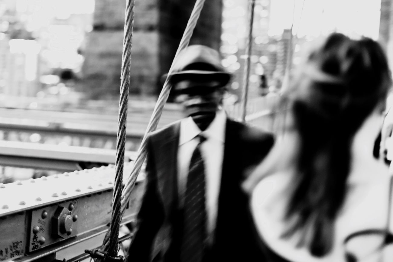 WatchingMeWatchingYou On The Go | EyeEm version BW 4 filter - shot in NYC Businessman Suit Business Person Men Only Men Transportation Adults Only Business Nautical Vessel One Man Only Well-dressed People Adult Boat Deck Senior Men Outdoors Day Blackandwhite Streetphotography Streetphoto_bw New York EyeEm Best Shots Brooklyn Bridge / New York Brooklyn