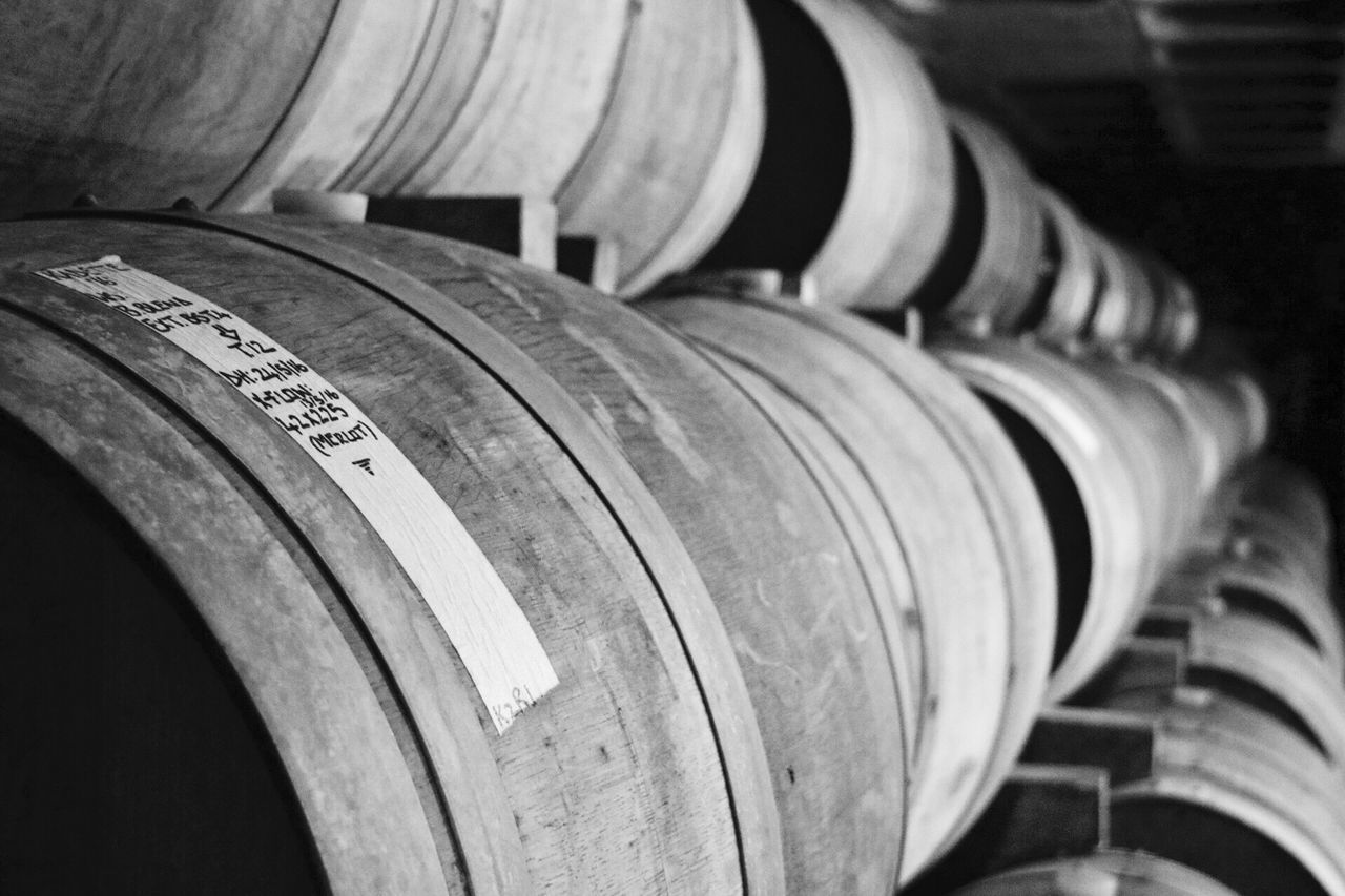 Wine Cask Barrel Cellar Wine Cellar In A Row No People Wood - Material Winery Indoors  Alcohol Wine Food And Drink Industry Warehouse Close-up Keg Day Stellenbosch South Africa Kanonkop Pinotage