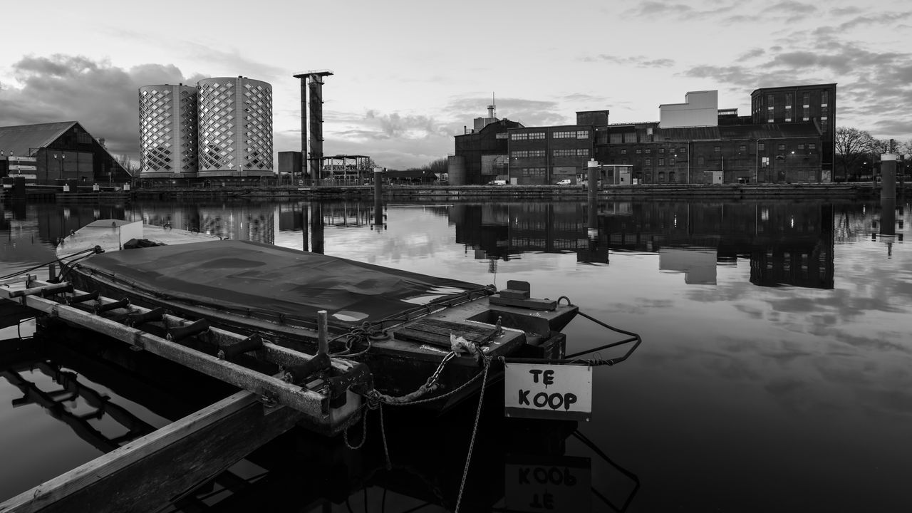 Everything Must Go Architecture B&w Blackandwhite Boat Building Building Exterior Built Structure Canal Dutch Europe Halfweg Holland Monochromatic Monochrome Moored Nautical Vessel Nederland Netherlands Reflection The Week On Eyem Transportation Water Waterfront Wide Angle