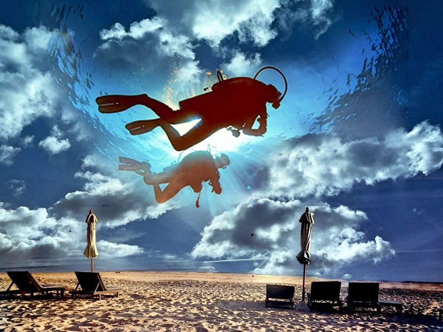 Cut And Paste In The Sky , UnderSea & At The Beach Scuba Diving Cloud - Sky Swimming Scuba Diver Sky Sand Low Angle View Outdoors Day Sea Blue Clouds And Sky Mix Your World Different Perspective Nature