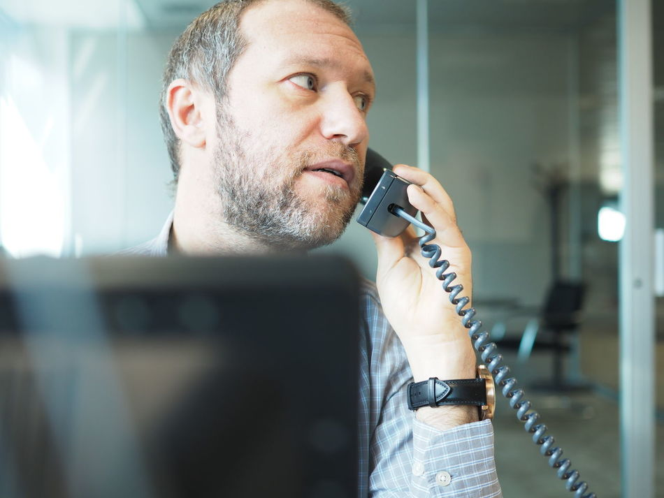 Business Business Business Finance And Industry Business Person Businessman Call Communication Man Man Head Monitor Negotiate Office Office View Officeman One Person Phone Shirt Shirt Man Telephone Telephone Cable Telephone Line Using Phone Work Work Man Employed