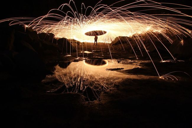 Capturing Motion Night Long Exposure Sparks Motion Illuminated Outdoors Wire Wool Light Effect Steelwool Steelwoolphotography Quarry