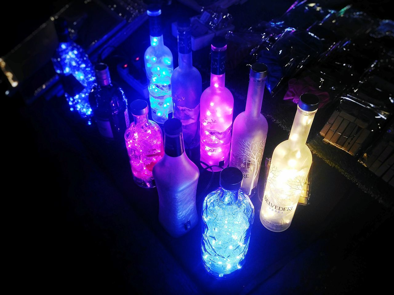 Light In The Darkness Bottles Of Wine Colorful Darkness And Light Rainbow Room Lights Decorated Room Light Lamplight Decorative Lights Sleeper Sleep Time Time To Relax Relaxedand Happy