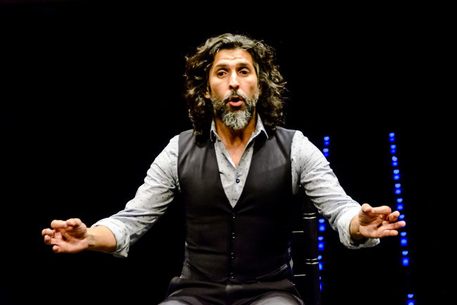 Flamenco artist, Arcángel, (Francisco José Arcángel Ramos), during the press presentation before his concert in Madrid, summer 2016. Arcangel Black Background Editorial  Expression Facial Expression Flamenco Front View Hands Music Person Portrait Singer  Waist Up