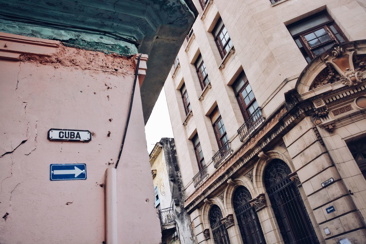 This way for Cuba. Architecture Building Exterior Built Structure Text La Habana Havana Cuba Textures And Surfaces Street Wall Sign Street Sign Streetphotography Corner To The Right This Way Old Buildings Vintage Building Cities Tourist Attraction  BYOPaper!