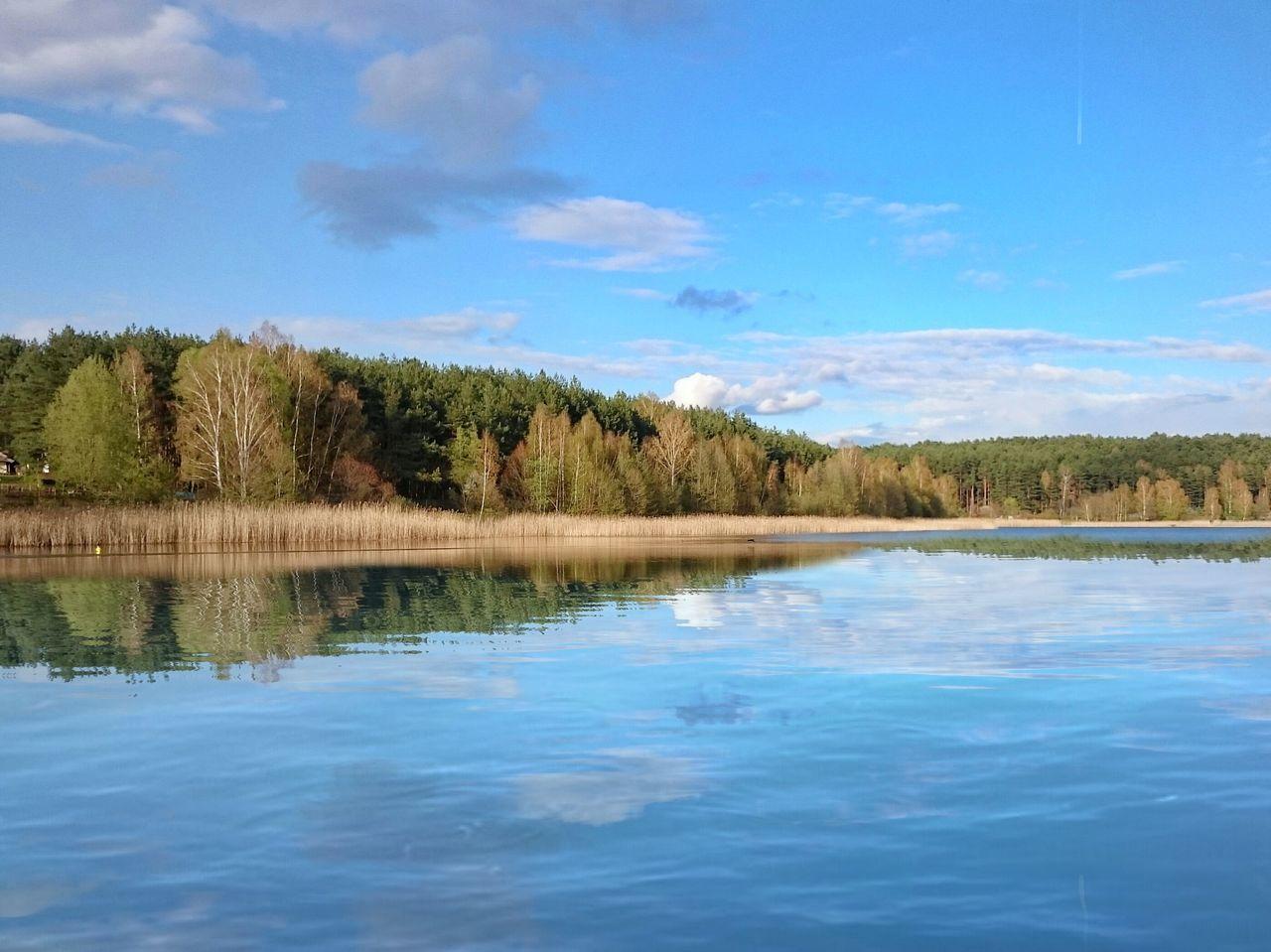 Reflection Water Nature Tree Cloud - Sky Lake Outdoors No People Day Scenics Blue Sky Poland Warmia Mazury