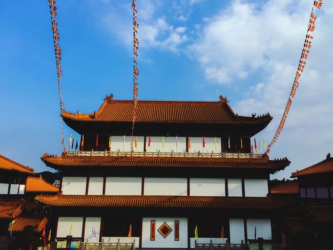 Building Exterior Architecture Built Structure Low Angle View Sky Spirituality Place Of Worship Religion Culture Pagoda Temple - Building Blue Roof Spire  Tradition Cloud - Sky Day Outdoors Architectural Feature Famous Place China Chinese Chinese Culture Zhuhai