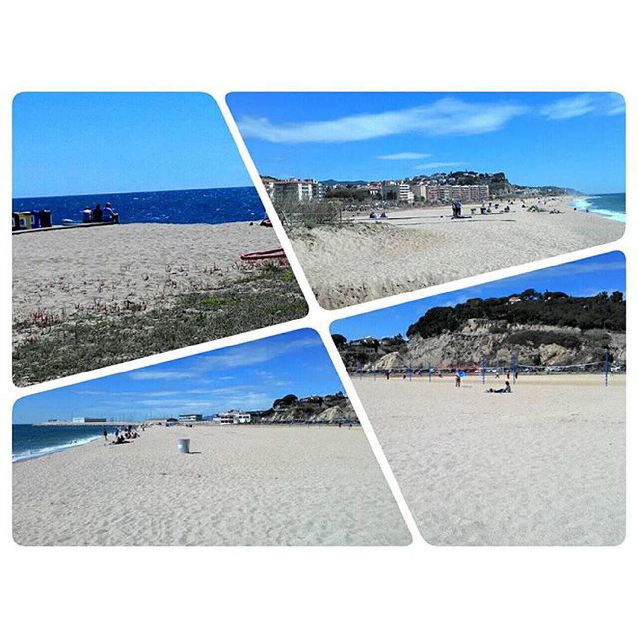 Dia de passeig per la platja, sol, aire, recuperació. Espolon Igers Igersbarcelona Photocollage Arenys De Mar