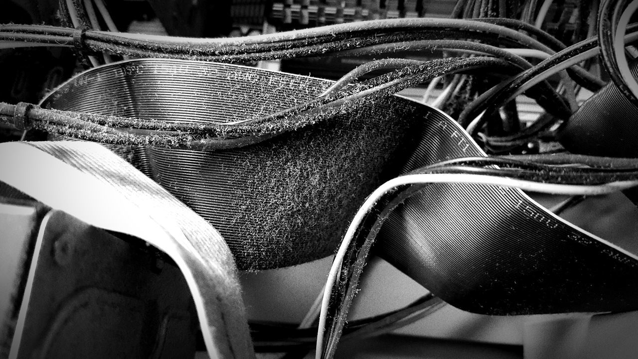 Close-up No People Computer Computer Part Computer Cable Dirt Dirty Blackandwhite Photography Inside Of A Computer Technology Dust Dusty