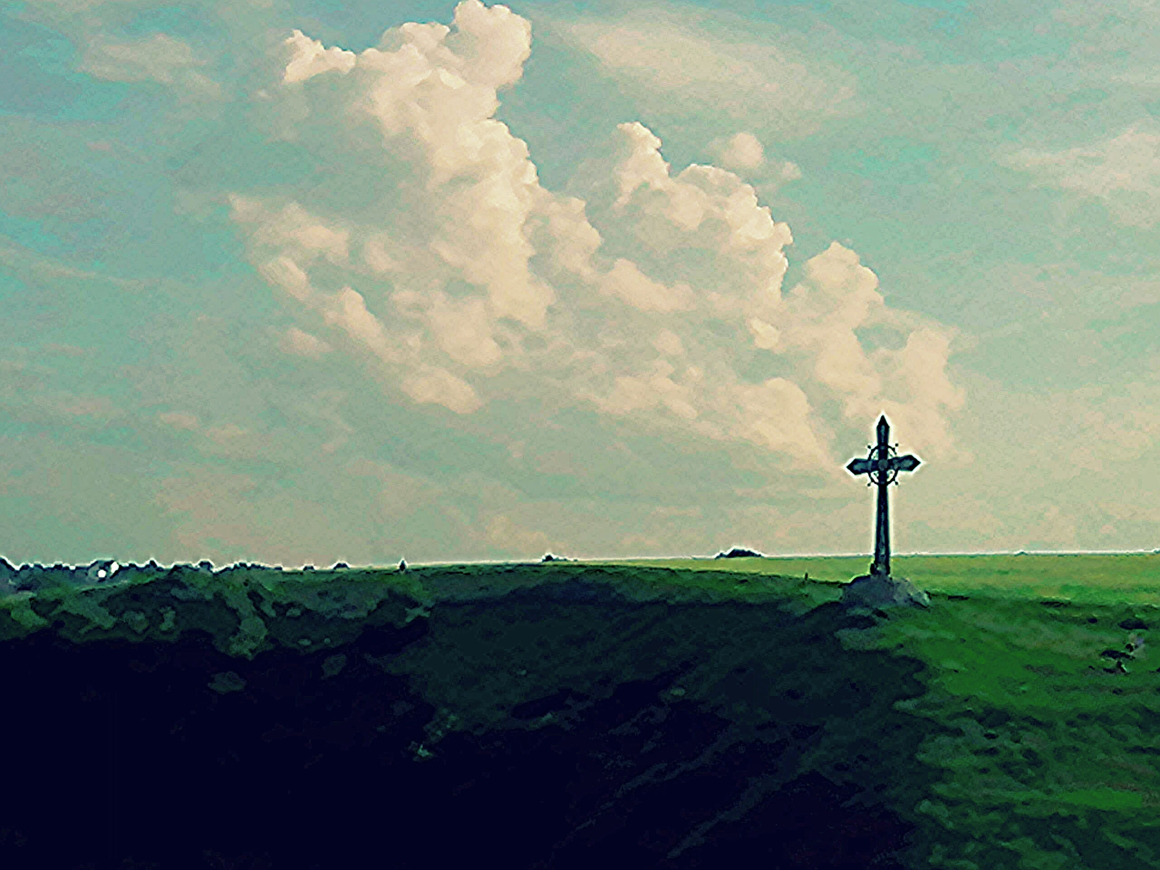 sky, landscape, tranquility, field, tranquil scene, grass, cloud - sky, built structure, scenics, nature, guidance, cross, beauty in nature, architecture, lighthouse, building exterior, cloud, rural scene, green color, no people