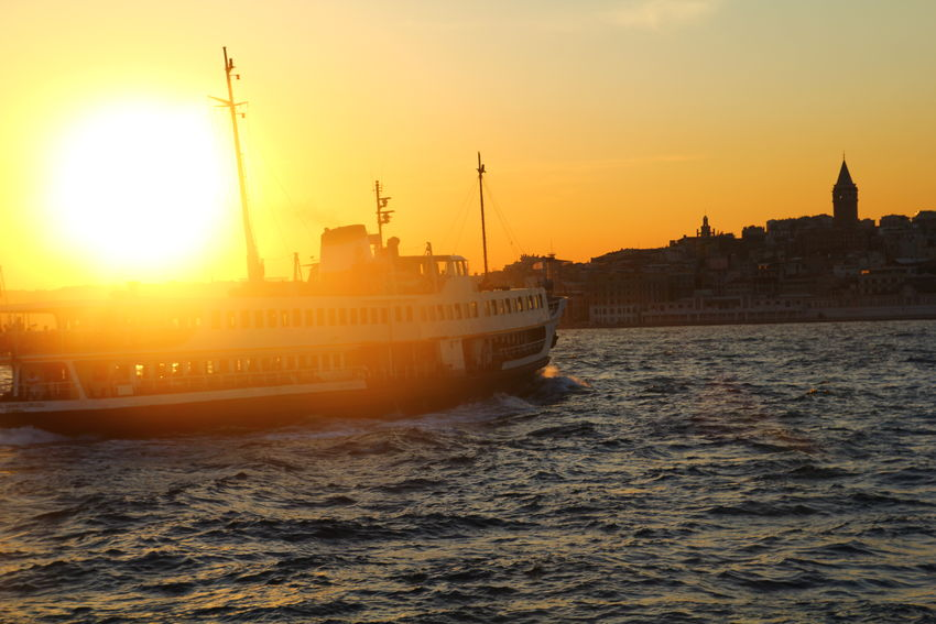 Boat Built Structure Galata Outdoors Sea Sun Sunset Tower Water