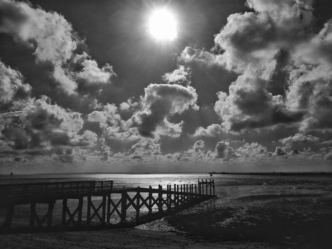Jetty on Southend seafront. Bridge - Man Made Structure Sea Built Structure Dramatic Sky Sky And Clouds Atmospheric Mood Cloud - Sky Jetty Southend On Sea Southendonsea Southend-on-sea Seafront Southend Seafront British Seaside Seafront Views Seaside Outdoors Monochrome Photography