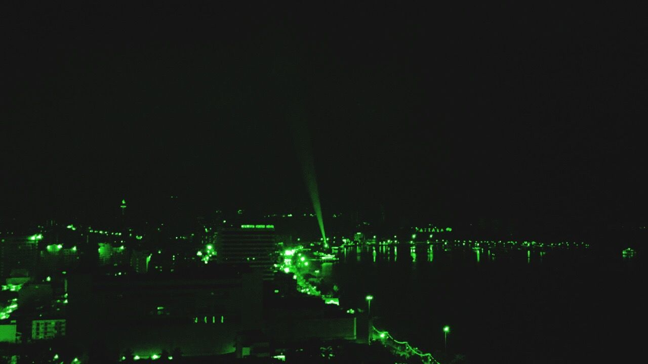 Night Visions Night Illuminated Green Color Black Background No People Sky Outdoors