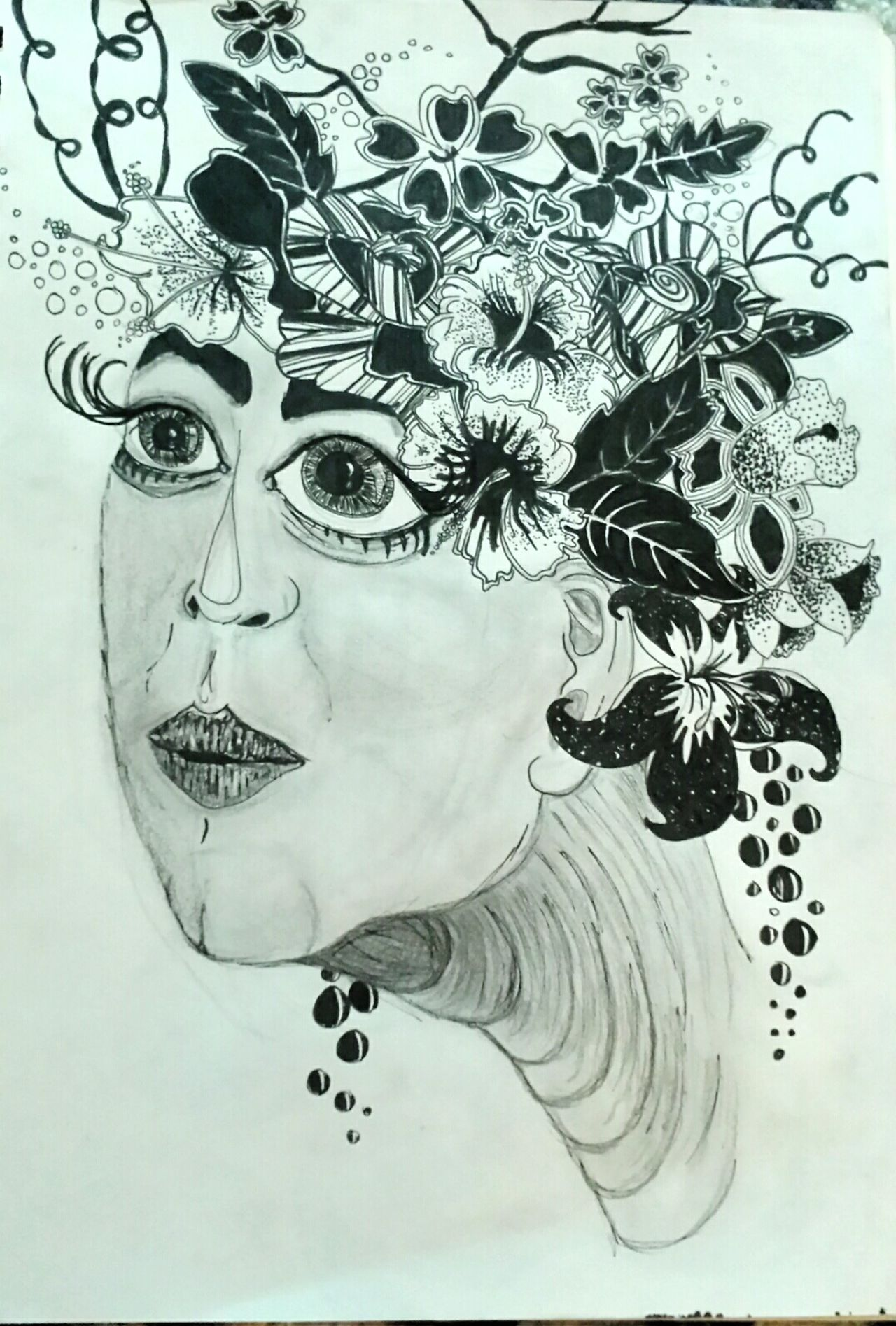 There is always a 'Plan B' Flowers Flowersinyourhair Pen Penandink From My Sketchbook Mydoodle Bigeyes ArtWork