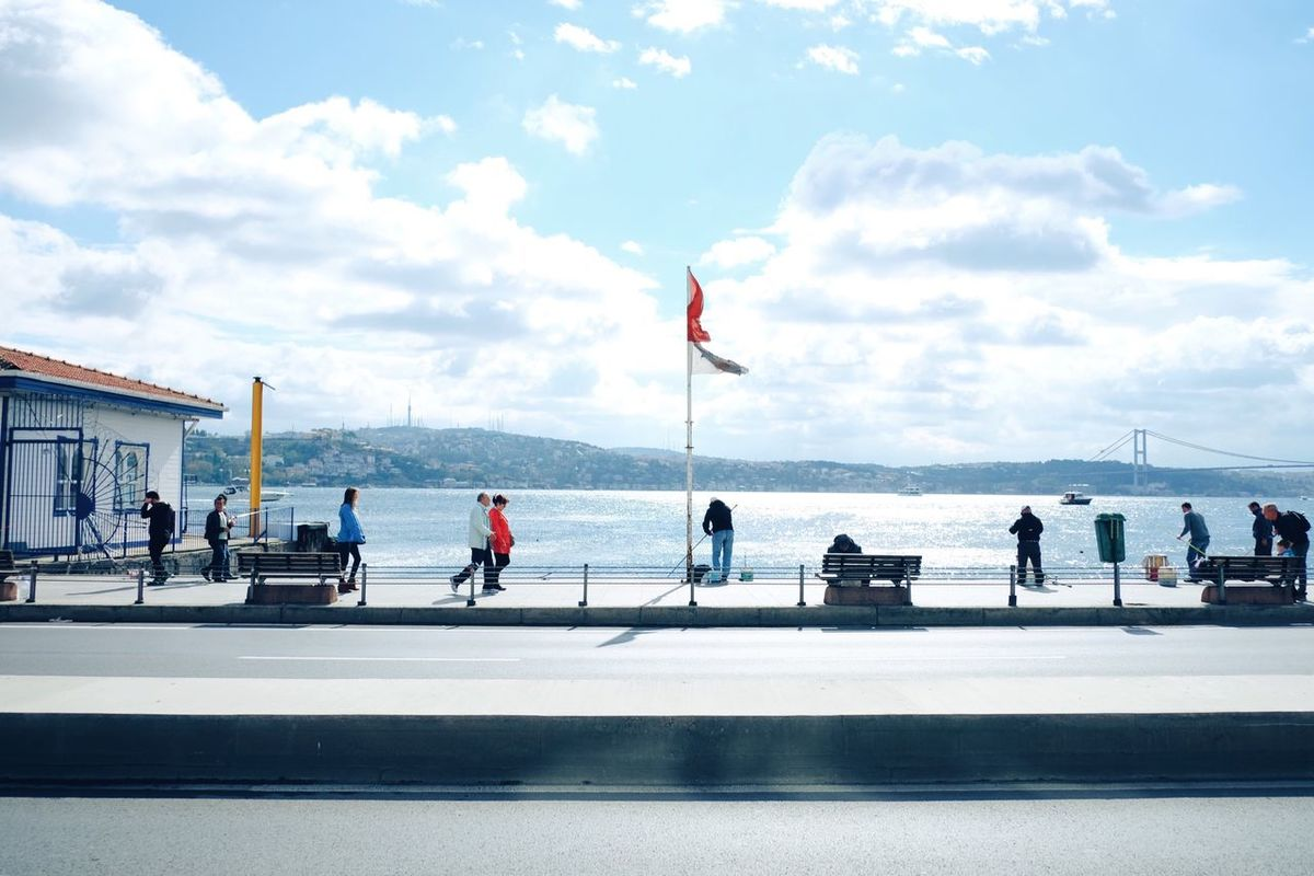 Strolling.. Arnavutkoy Arnavutköy Bebek Waterside Bosphorus Bridge Bosphorus Walking Walking Around Port Fishing Jogging Sunlight Natural Light Landscape People People Together Istanbul Turkey Strolling Sky And Clouds Blue Sky Street View People And Places Finding New Frontiers Neighborhood Map The Street Photographer - 2017 EyeEm Awards
