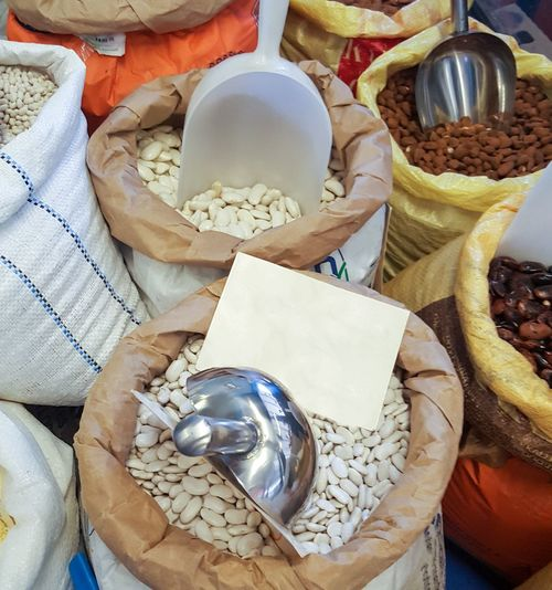 Variety Abundance Ingredient Scoop Store Shop Lefkada Stall Greece Sacks Bags Powder Beans Pulses Close-up Food Market Retail  Variation No People Backgrounds Full Frame For Sale High Angle View