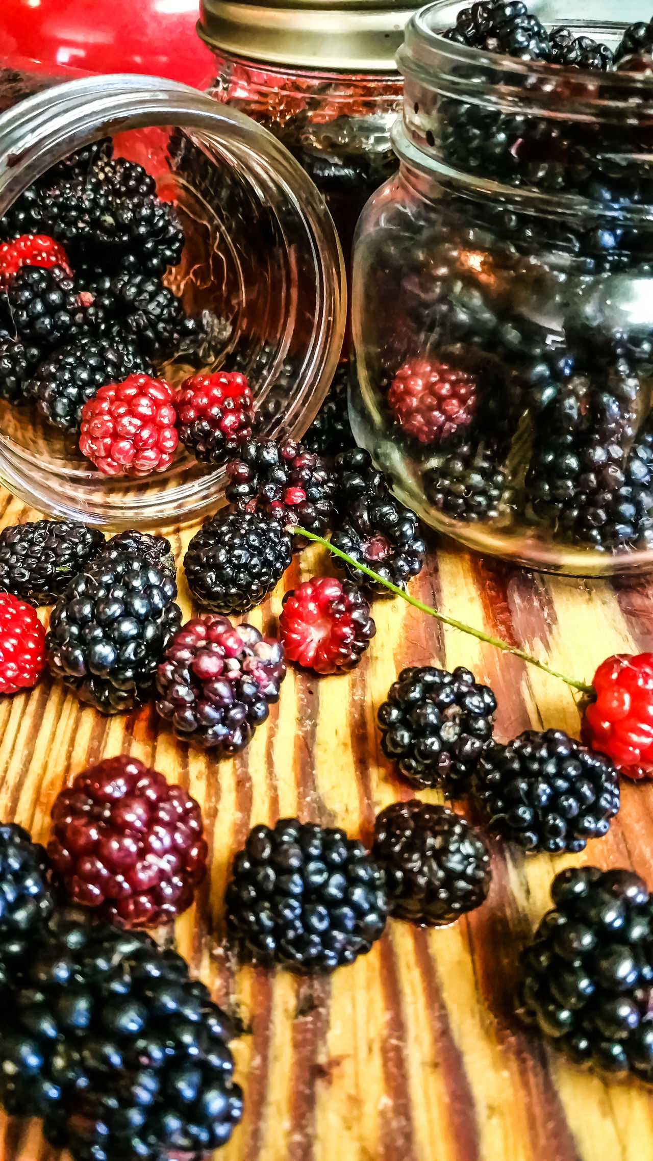 Fruit Blueberry Healthy Eating Food Freshness Food And Drink Indoors  Table No People Sweet Food Close-up Ready-to-eat Day Fresh Fruits Jar Berries Fresh Wild Berries Black Berries Dew Berries Canning Cooking Jelly Making Jam Wooden Visual Feast