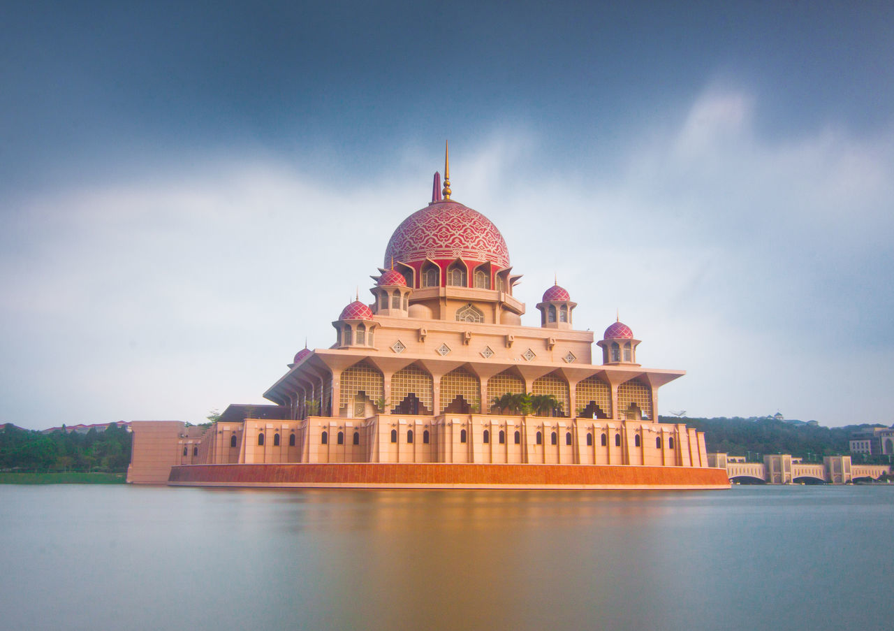 Putrajaya Mosque in Long Exposure mode Architecture Building Exterior Built Structure Cloud - Sky Day Dome History Long Exposure Masjid Putra Masjid Putrajaya Milky Water Mosque No People Outdoors Putrajaya Mosque Sky Slow Shutter Slow Shutter Speed Travel Destinations Water