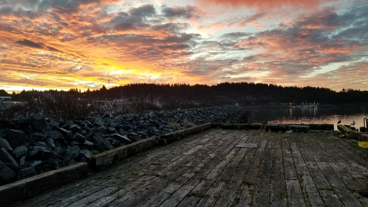 Sunrise Landscape Sky Outdoors Nature Tree Day Harbor Cannery Fish Long Line Fishing Boat Autumn Photography Fish Tender Alaska Kodiak Voyageur Country Imaging Mountain Dramatic Sky Water