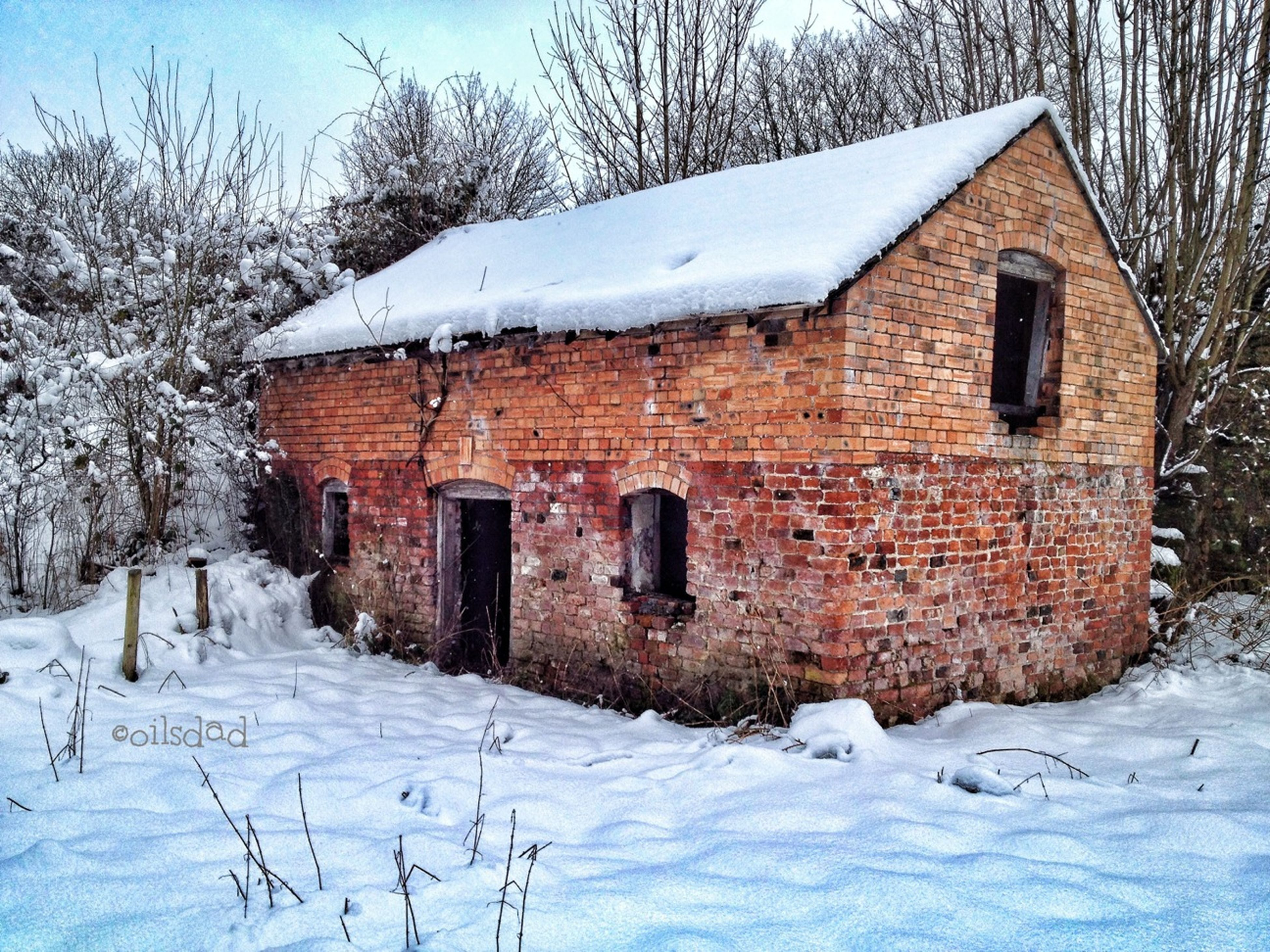 snow, winter, cold temperature, season, building exterior, architecture, built structure, weather, covering, house, bare tree, frozen, white color, covered, residential structure, tree, nature, field, residential building, outdoors
