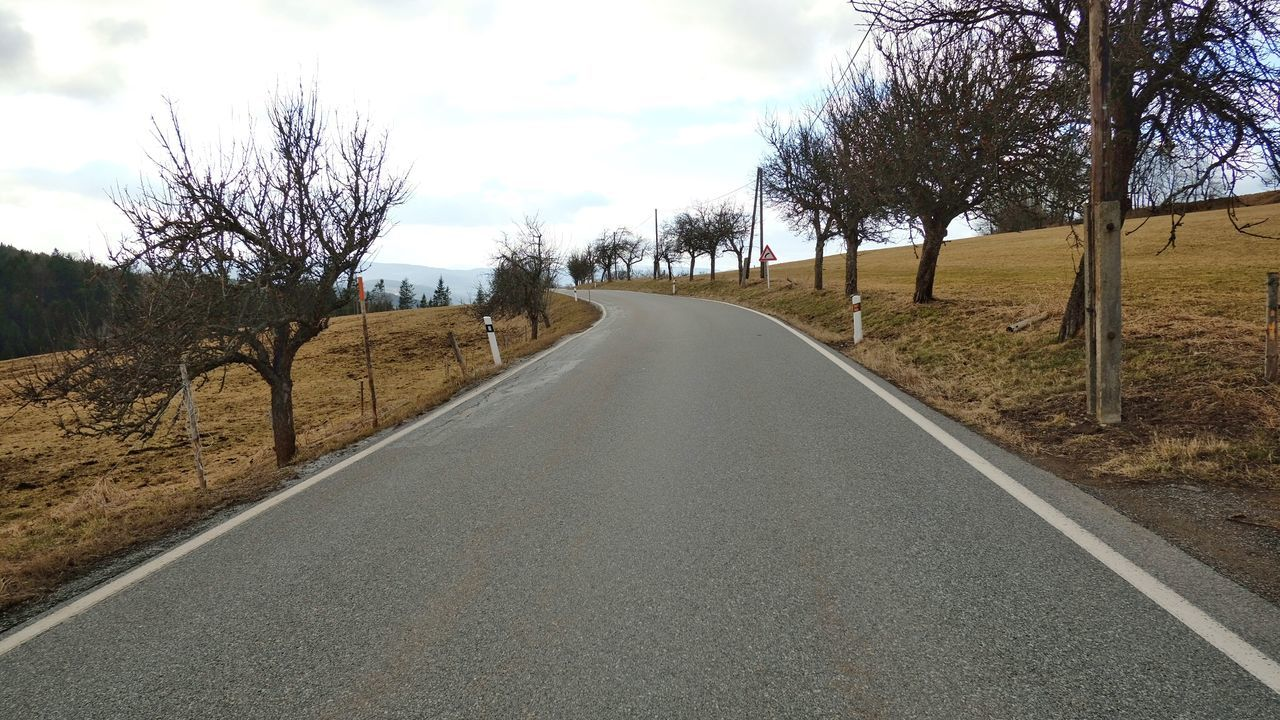 Asphalt Road Bare Trees Beauty In Nature Day Earth Colors Landscape Nature No People Outdoors Perspective Road Scenics Sky Spring Tranquility Tree