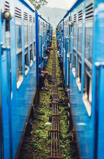 Its a Blue Train with blue People In the middle of no where to trains randomly stopped next to each other. This was shot with my Sony A850 Two Simetry Mirror Same  Twin Check This Out Trip Traveling Adventure Hello World Sri Lanka Share Your Adventure The Street Photographer - 2017 EyeEm Awards