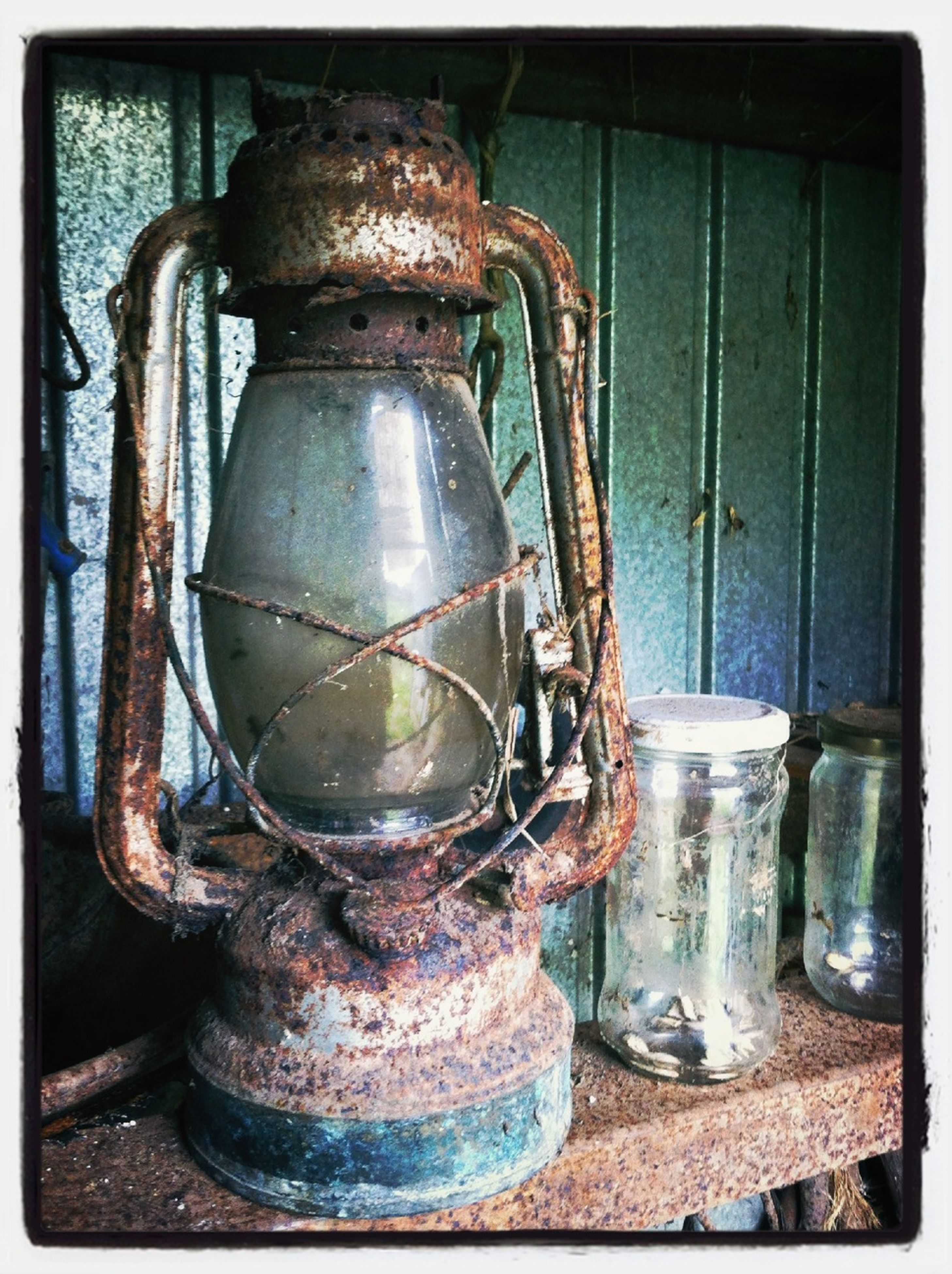 transfer print, metal, indoors, auto post production filter, old, close-up, still life, obsolete, metallic, abandoned, container, rusty, old-fashioned, factory, damaged, machinery, no people, bottle, equipment, industry