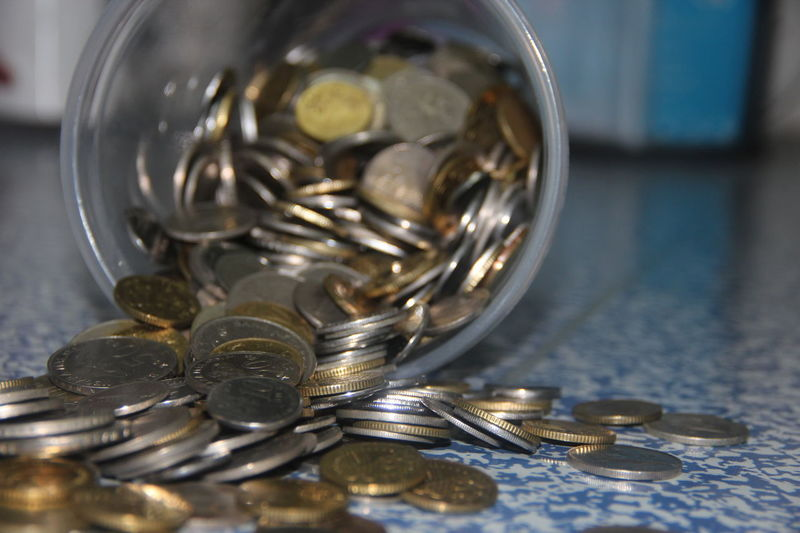 Selective Focus Close-up Coin Collection Coins Large Group Of Objects