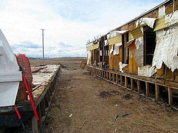 Pine Ridge Pine Ridge Reservation Trailers Homes Cloudy Sky Damaged Torn Torn Down South Dakota Poor  Landscape The Secret Spaces