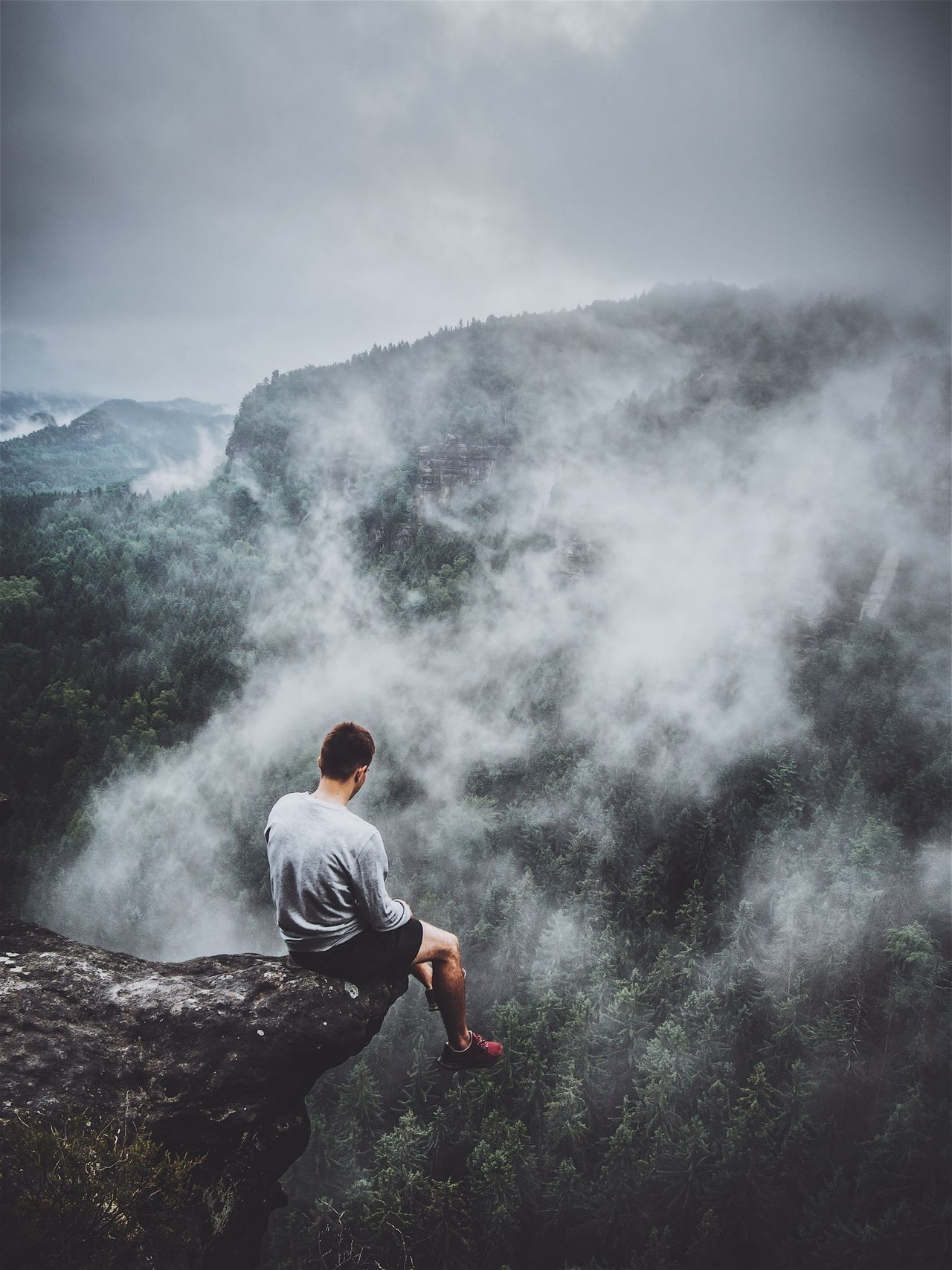 Smoke - Physical Structure One Person Real People Nature Steam Fog Beauty In Nature Men Outdoors Power In Nature Sky Day Motion Mountain Scenics Lifestyles Hot Spring Water Landscape Waterfall