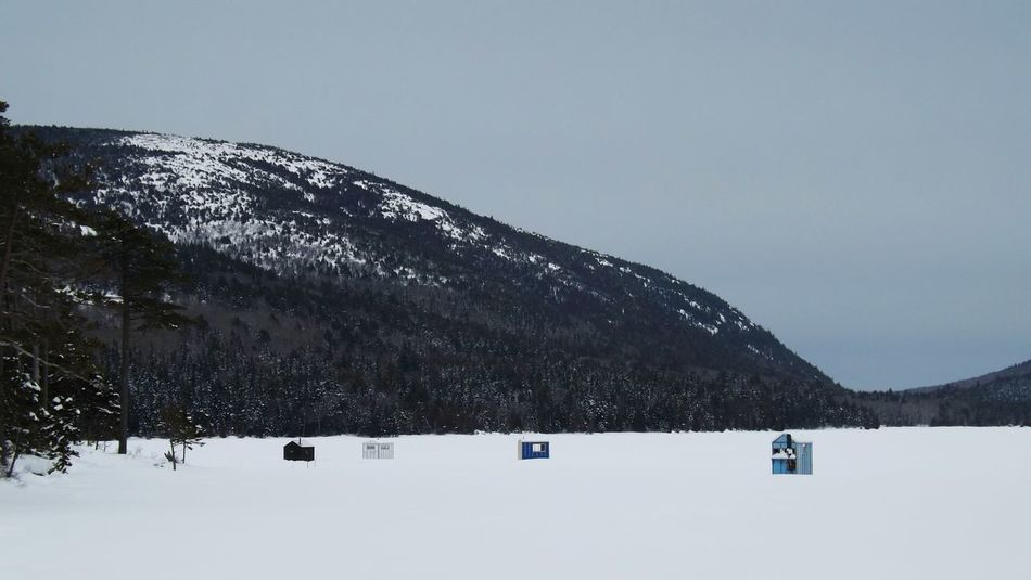 Winteractivity Frozen Lake Maine Winter Snowy Mountains Icefishing Icehouse Eaglelake Acadianationalpark Winterphotography Maine