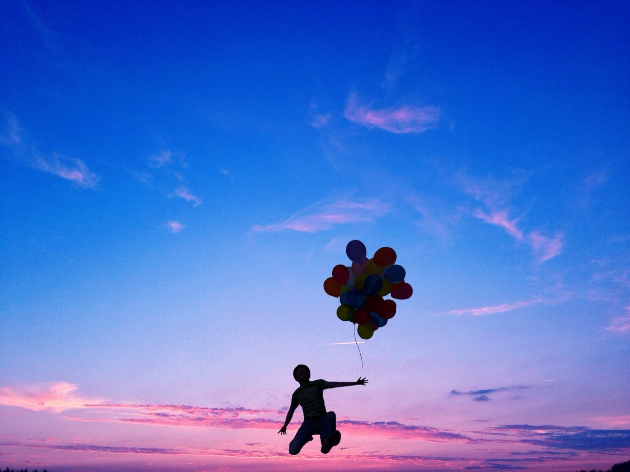 Beautiful stock photos of jump, Balloon, Bunch, Child, Dusk