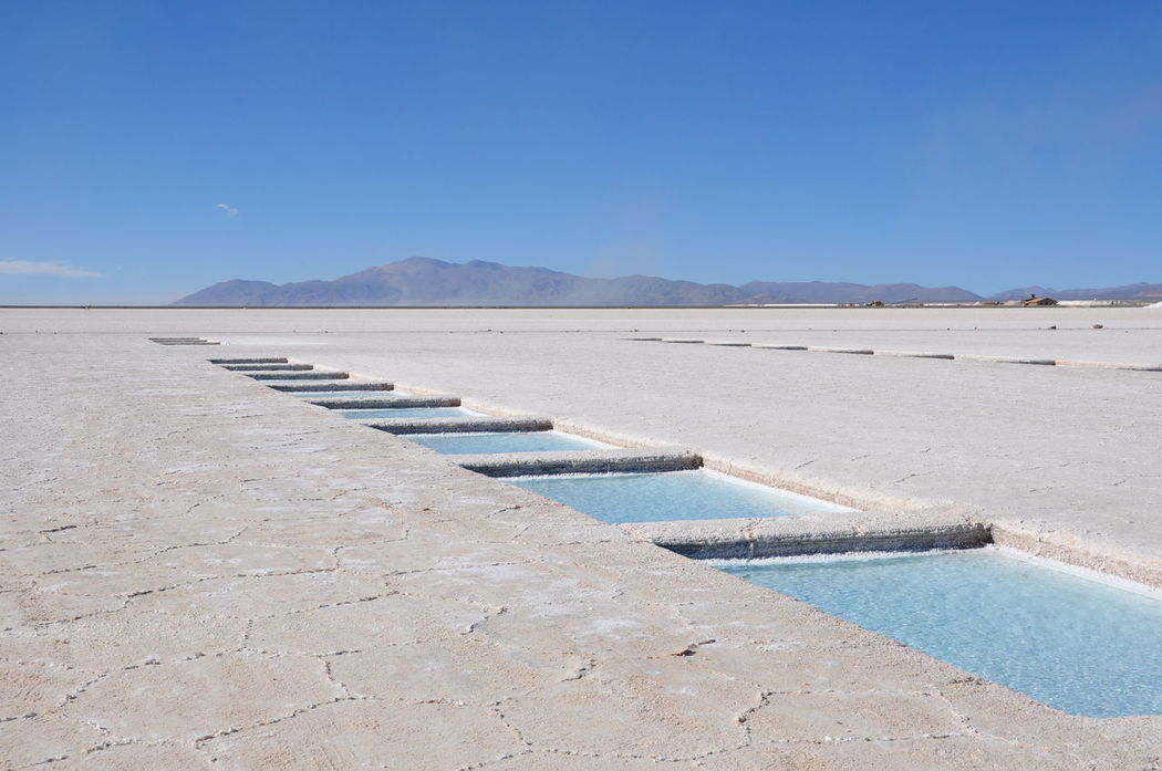 Salinas Grandes Salt Fields, Argentina Beauty In Nature Blue Clear Sky Salt Copy Space Day Idyllic Landscape Mountain Mountain Range Nature Outdoors Scenics Sea Sky Tranquil Scene Tranquility Water Argentina Salinasgrandes Blue Wave