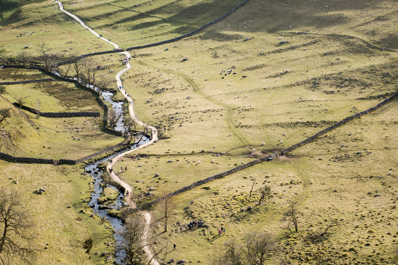 Aerial View Countryside Day English Countryside Field Grass Landscape Livestock Malham Malham Cove Nature Outdoors Path River Rural Rural Scene Scenics Sheep Walkers Wall Yorkshire Yorkshire Dales
